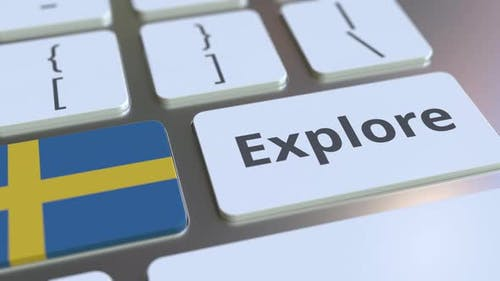 EXPLORE Word and National Flag of Sweden on the Buttons