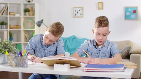 Thumbnail for Identical Twins Studying Together at Home