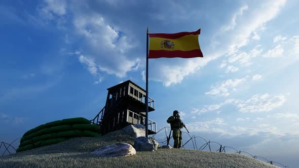 Thumbnail for Soldier Protecting Guard by Border at Spain Border