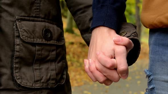 Young Model Couple in Love - Autumn Park(nature) - Couple Holding Hands (Closeup) - Happy Couple