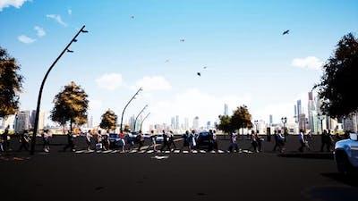 People Crossing The Pedestrian Crossing