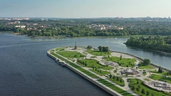 Cover Image for Park Strelka and Volga River in Yaroslavl Russia