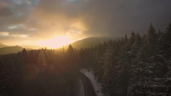 Snow Winter Season-Sunrise-Aerial