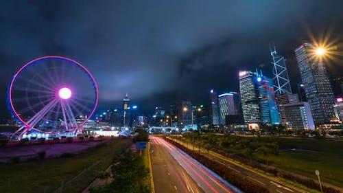 Traffic Lights Streak At City Night