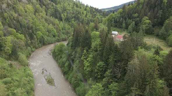 Thumbnail for Ukraine, Carpathian Mountains: River in the Mountains. Aerial.