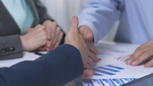 Two Successful Partners Adopt Company Growth Strategy, Handshaking At Meeting