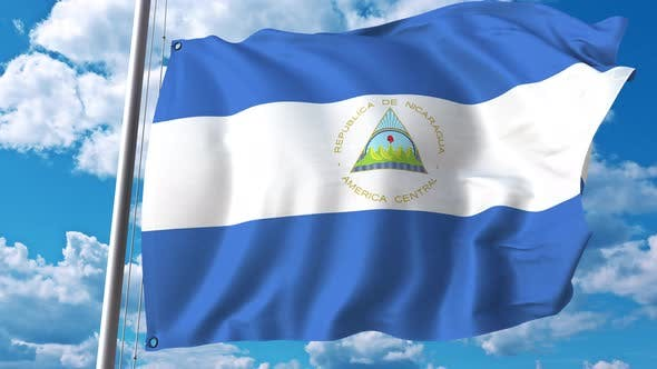 Thumbnail for Waving Flag of Nicaragua on Sky Background
