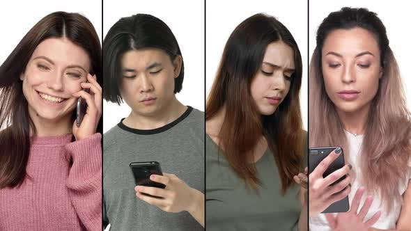 Split Collage of Diverse Multicultural Men and Women Using Mobile Phone with Different Emotions