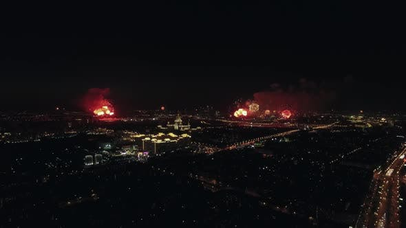 Thumbnail for Celebration of Victory Day with Fireworks in Night Moscow