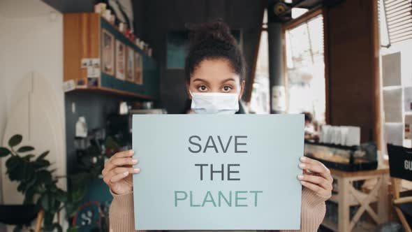 Young Protesting Woman Hold Protest Placard Save the Planet Stop Nature Garbage Ecology Environment