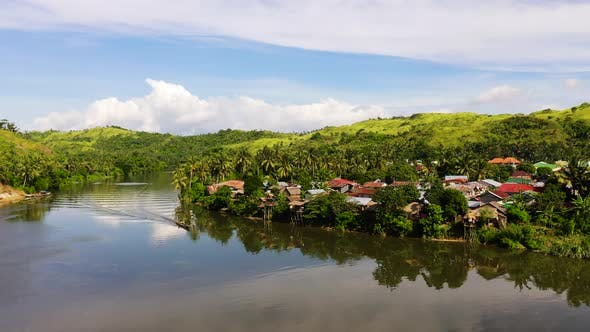 Thumbnail for Tropical Landscape in Sunny Weather. Village By the River. The Nature of the Philippines, Samar