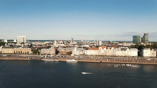 Sunny Day And Crowd At Rhine and Aerial View of the City of Dusseldorf in Germany