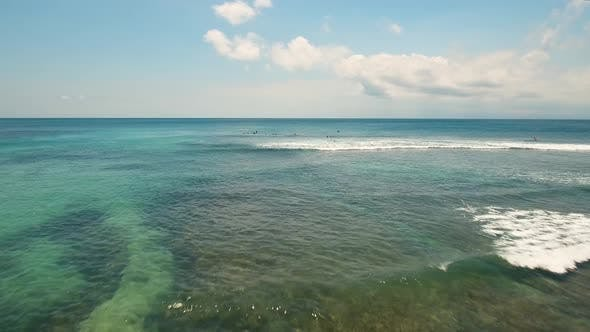 Thumbnail for Aerial View Surfers on the waves.Bali,Indonesia