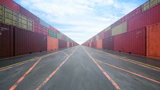 Endless Rows of Cargo Shipping Containers under Cloudy Sky