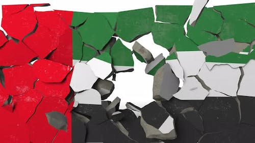 Breaking Wall with Painted Flag of UAE