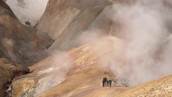 Thumbnail for Tourists Walk in Kerlingarfjoll Geotermal Area
