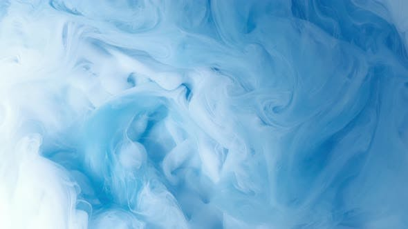 Thumbnail for White and Blue Cloud Abstract Ink Mixed in Water
