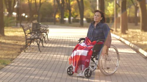 Portrait of Disabled Woman on Wheelchair at the Park
