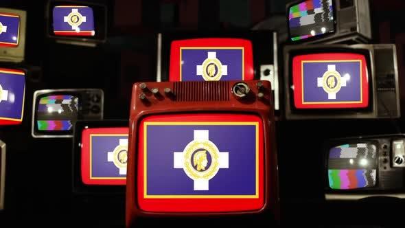 Flag of Athens and Retro TVs.