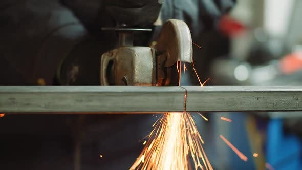 Thumbnail for Angle Grinder Cutting Metal at Workshop