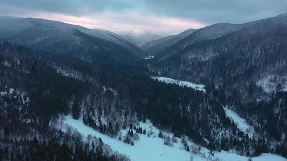 Thumbnail for Wide Shot of Mountains Covered with Snow