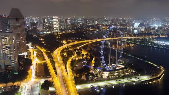 Cover Image for Singapore Cityscape Night Street Traffic