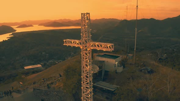 Thumbnail for Mount Tapyas with Large Christian Religious Cross at Sunset in Coron City