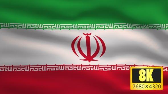 8K Iran Windy Flag Background