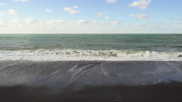 Beautiful Gray Sea Under a Blue Sky