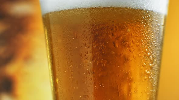 Bartender Pouring Cold Beer Into Glass Close-up, Festival Drink, Cold Beverage. Stock Footage