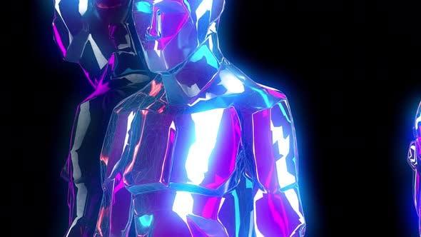 4K Neon walking humanoids