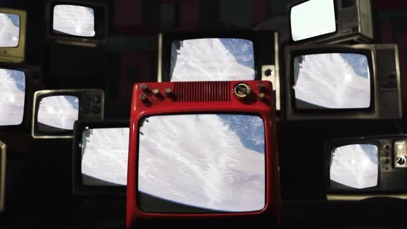Sahara Desert from Space on a Retro TV Wall.