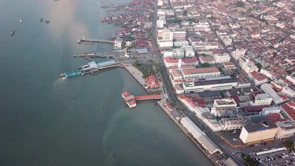 Aerial view ferry terminal and UNESCO World Heritage
