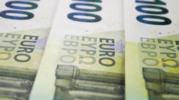 One hundred euro banknotes close up. Macro