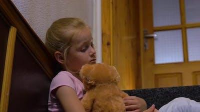Sad Girl And Teddy Bear
