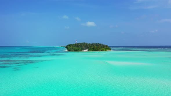 Thumbnail for Wide overhead island view of a sunshine white sandy paradise beach and aqua turquoise water background