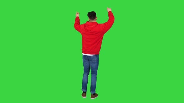 Thumbnail for Casual Man Dancing in a Red Hoody on a Green Screen, Chroma Key