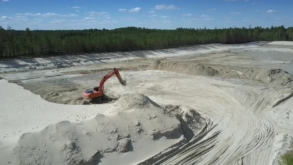 Thumbnail for Sand Pit with High Hills and Red Digger in Summer Upper View