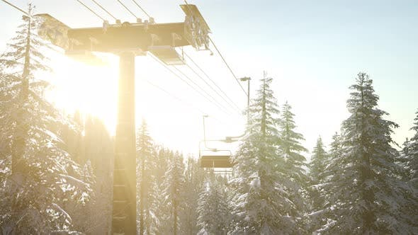 Thumbnail for Empty Ski Lift. Chairlift Silhouette on High Mountain