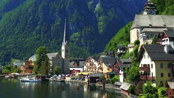 Thumbnail for Village Hallstatt with Church in Summer Day - Mountains and Forests in the Background