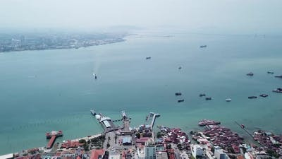 Ferry move toward Penang Ferry Terminal.