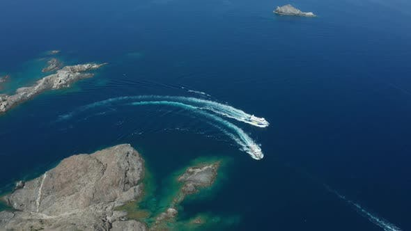 Thumbnail for Drone Shot of Two Yachts Sailing Near Rocky Cape