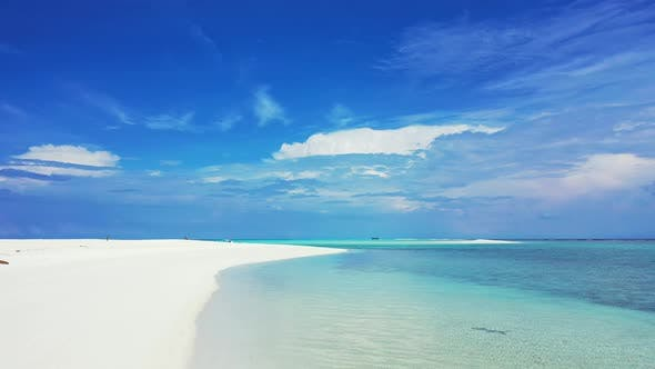 Thumbnail for Wide angle overhead travel shot of a paradise sunny white sand beach and blue ocean background in hi