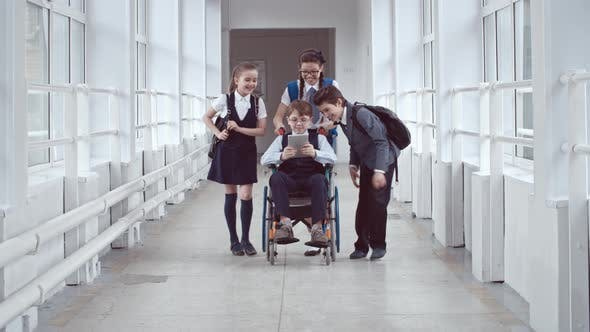 Cover Image for Handicapped Schoolboy Chatting with Friends