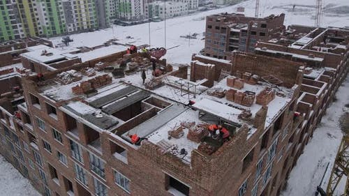 Construction Of A Multi-storey Building In Winter