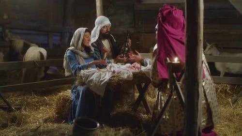 Magi Giving Presents to Baby Jesus
