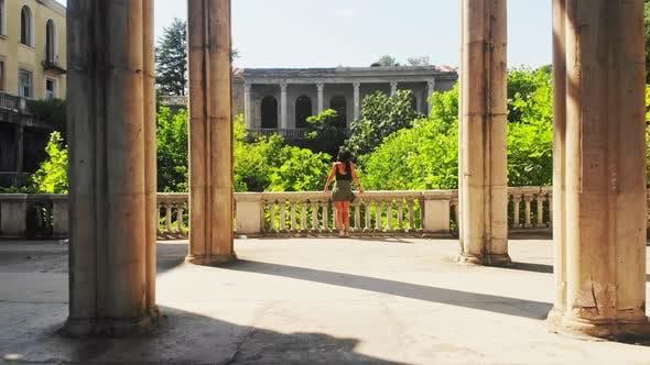 Tourist Stand And Enjoy Historical Landmark
