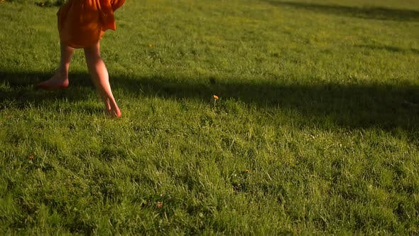 Thumbnail for Female Feet Running By Grass in Park, Barefoot.