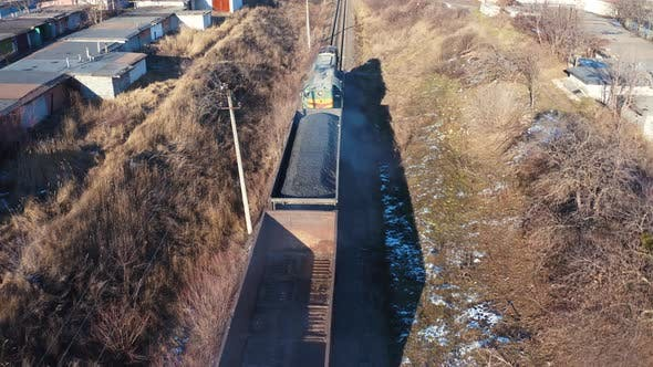 Freight Train Moving in Winter