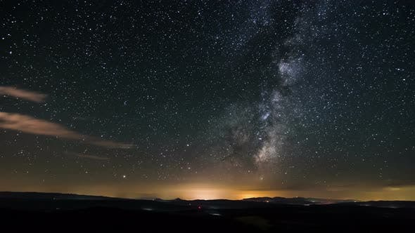 Thumbnail for Dark Night Starry Sky with Stars and Milky Way Galaxy over Nature Landscape Astronomy